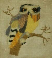 """Vintage Macrame Needlepoint Owl Yarn on Burlap 10"""" x 14"""" Finished Piece"""