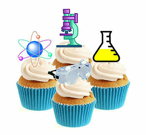Novelty Science /Scientist Mix 12 Edible Stand Up wafer paper cake toppers party