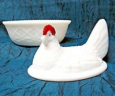 Rooster Hen On a Nest  Candy / butter dish Early Westmoreland White milk glass