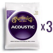 3 Set MARTIN 80/20 Corde Chitarra Acustica Bronzo Custom Light Gauge .011 - .052