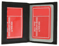 Black Men's Genuine Leather Business Card Plastic Insert ID Holder Wallet