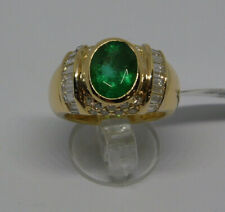 Gold Ring 18KT Emerald and Diamonds Small And Diamond - Emeraude