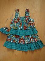 MONSOON Brand New Print Summer Dress & Matching Bag Age 1 2 3 4 5 (LMT WHIMSY)