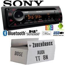 Autoradio Sony Bluetooth | DAB+ | CD/MP3/USB KFZ Einbauset für Audi TT 8N Bose