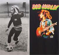 New Mens Black White Bob Marley Rasta Soccer Guitar Graphic T-Shirt XS - XXXL