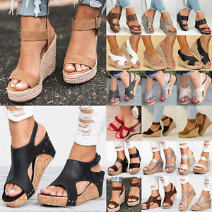 Women Casual Comfy Platform Wedge High Heels Sandals Open Toe Espadrilles Shoes.