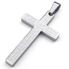 MENDINO Men's Stainless Steel Pendant Necklace Cross Bible Lords Prayer Silver