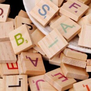 100pcs Wooden Scrabble Tiles Colorful Letters Number Craft Wood Alphabet Kits