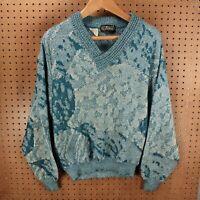 vtg L. Virany abstract print sweater MEDIUM italy 80s 90s ugly cosby