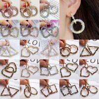Sweet Women Round Full Crystal Heart Drop Dangle Hoop Earrings Wedding Jewelry