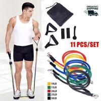 11Pcs Resistance Bands Set Exercise Yoga Fitness Tubes Workout Training Rubber