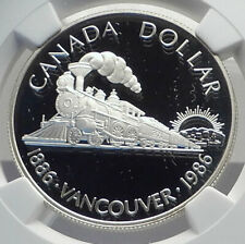 1986 CANADA Vancouver UK Queen Elizabeth II Train Proof Silver Coin NGC i79861