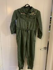 Girls M&S Khaki Embroidered Jumpsuit 8-9 Years