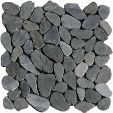 1 Netz Flusskiesel Anthrazit gesägt Mosaik Fliesen Naturstein Glas Granit