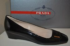 NIB $530+ PRADA Sport Logo Low Wedge Heel Pump Shoe BLACK Patent Leather 38 - 8