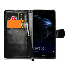 For Huawei P10 Lite - Leather Flip Wallet Case Stand Cover + Screen + Stylus