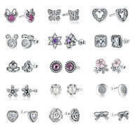 Optional Design 925 Sterling Silver Sparkling Bow CZ/Crystal/Pearl Stud Earrings