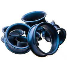 Pair - Thick Wall Dark Blue Silicone Ear Tunnels Plugs Double Flared Gauges