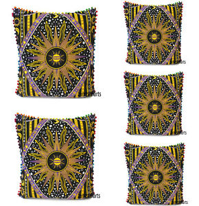 """New 5 PCs Set Of 24"""" Pillow Cover Sofa Decorative Cushion Covers Indian Handmade"""