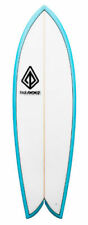 "Paragon Retro Fish 5'10"" White -Turquoise Rails Surfboard"