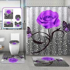 Purple Rose Waterproof Shower Curtain Bath Non-slip Mats Bath Carpets Toilet Mat