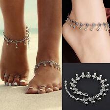 Femme Chaine de Cheville Anklet Perle Argent Plaqué Bracelet Sandale Plage 22cm