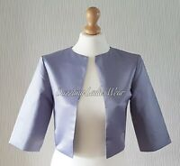Silver/Grey Satin Bolero Lined Shrug/Jacket/Stole/Shawl/Wrap3/4 Sleeves #4