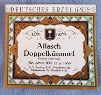 altes Musteretikett Liköretikett Etikett Allasch Doppelkümmel Entwurf Art Deco