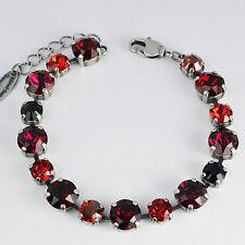 Armband Tennis Silber 16 Swarovski Kristalle Multicolor Ruby Siam Garnet rot