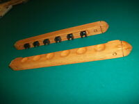 Billiard Pool Table 6 Cue Wall Rack Mounted Six Cue Stick Oak Finish USA