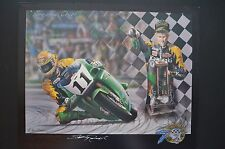 1993 Hand signed SCOTT RUSSELL WSB championship art print Muzzy Kawasaki motogp