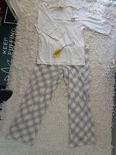 Pyjama Schafanzug 2-teilig Größe 36 38 creme braun von Buffalo guter Zustand