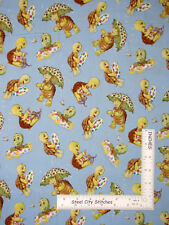 Friendly Greetings Turtle Toss Blue Tonal Cotton Fabric VIP Fabric By The Yard