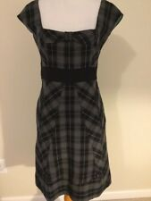 Moulinette Soeurs Anthropologie Dress Size 2 gray plaid retro pin up fitted bow