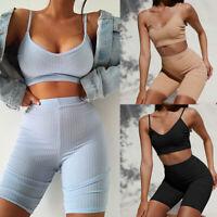 Womens Co Ord Shorts Set Suit Crop Top Short Size 6 8 10 12 Black Blue Khaki
