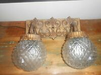Vintage cast Bathroom Vanity Light Wall Sconce Double Light. with glass globes