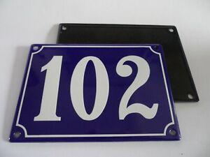 Antique French Blue  Genuine Enamel Porcelain House Door Number Sign / Plate 102