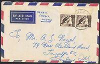 1959 9d Kangaroo pair on 1960 airmail cover TS1027