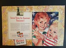 1942 Heinz baby food redhead  girl pigtails Stars stripes 2 page vintage ad
