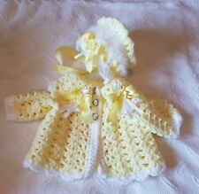 Romany Hand Crochet Bonnet And Cardigan Babies newborn With Fluff