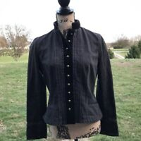 Ralph Lauren, Lauren Jeans Black Denim Jacket Gold Button Equestrian Style