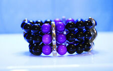 Black Purple Plastic Beads Multi Layers Elastic Band Bracelet