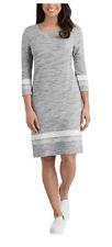 Hilary Radley Ladies Size XL 3/4 Sleeve Dress Grey Ivory A4112