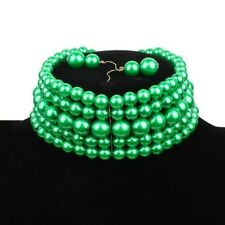 "13.50"" green faux pearl 5 layer choker collar bib necklace 2"" earrings"