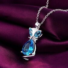 925 STERLING SILVER & BLUE TANZANITE CAT/FOX ANIMAL GEMSTONE PENDANT NECKLACE