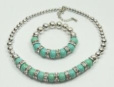 Fashion Rhinestone Silver Plated Jewellery Set Necklace Bracelet Turquoise