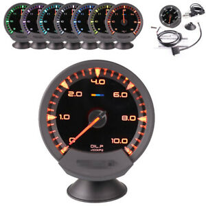 0-10Bar 74mm Colorful LED Digital Oil Press Pressure Gauge Black Face Car Gauge