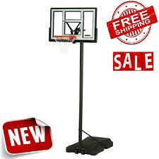 "46"" Basketball Hoop Backboard Adjustable Portable Goal Wheels Shatter-Proof 10ft"