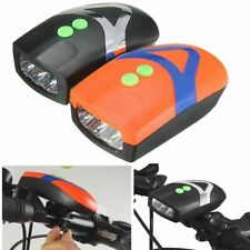 Bicycle LED Front Light With Bell Horn 3 AAA Battery Power Operated