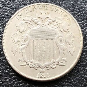 1873 Shield Nickel 5c High Grade AU #28841
